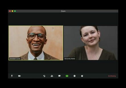 two people on the video meeting